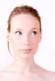Het nieuwsgierige heldere gezicht van de vrouw Royalty-vrije Stock Fotografie