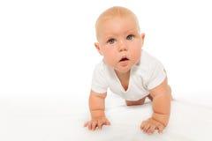 Het nieuwsgierige kijken baby kruipt dragend witte bodysuit Stock Foto