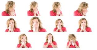 Het niezen vrouweninzameling Stock Foto's
