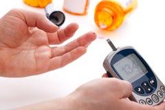 Het niveaubloedonderzoek van de glucose royalty-vrije stock afbeelding