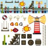 Het niveauuitrusting van het baai vlakke spel stock illustratie