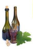 Het nog-leven met twee wijnflessen, een glas wijn stock afbeeldingen