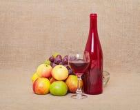 Het nog-leven - rood fles en fruit tegen een canvas Royalty-vrije Stock Afbeeldingen