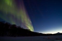 Het noordelijke licht van de dageraad over het de winter overzeese ijs Stock Fotografie