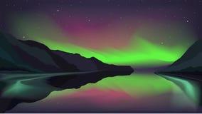 Het noordelijke lichte gloeien over een bergmeer Vector Illustratie