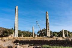 Het Noordelijke Stelae-Park van Aksum, beroemde obelisken in Axum, Ethiopië stock afbeeldingen