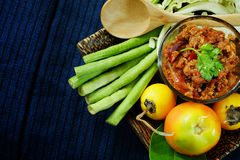 Het noordelijke Thaise Vlees en de Tomaat de Kruidige Onderdompeling of het Thaise Noordelijke Deeg van Stijlspaanse pepers verse royalty-vrije stock foto