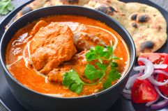 Het noorden Indische niet vegetarische maaltijd thaali-Punjabi stock foto's