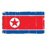 Het noorden Koreaanse Vlag Gekraste Textuur Vectortekeningsillustratie Royalty-vrije Stock Afbeeldingen