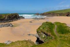 Het Noorden van de Noord- trevonebaai Cornwall Engeland het UK dichtbij Padstow en Newquay Stock Fotografie