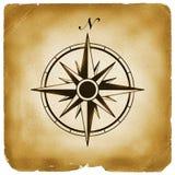 Het noorden van het kompas op oud document Stock Afbeeldingen