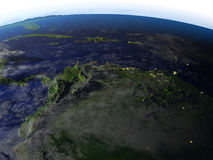 Het noorden van Zuid-Amerika bij nacht op realistisch model van Aarde Royalty-vrije Stock Foto