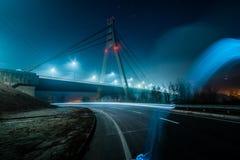 Het Noordenbrug van Moskou, nachtpanorama stock foto's