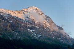 Het noordengezicht van Eiger in de avond Stock Afbeelding