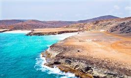 Het noordenkust van Aruba in de Caraïben Stock Foto's