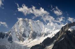 Het noordenmuur van Grandess Jorasses, Franse Alpen met verse sneeuw Royalty-vrije Stock Afbeeldingen