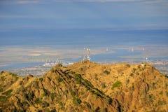 Het noordenpiek zoals die bij zonsondergang vanaf de bovenkant van MT Diablo wordt gezien Stock Fotografie
