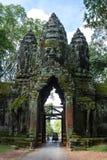 Het noordenpoort van Angkor Thome Stock Afbeeldingen