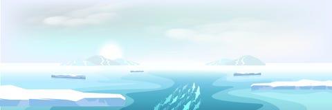 Het noordpoollandschapsijs smelten en ijsbergen, de winter aan de zomer stock illustratie