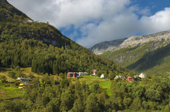 Het Noorse bergdorp. Stock Fotografie