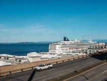Het Noorse die Juweel van het cruiseschip in Seattle wordt gedokt Royalty-vrije Stock Afbeelding