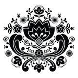 Het Noorse volks zwarte patroon van kunstbunad - Rosemaling-stijlborduurwerk Stock Fotografie
