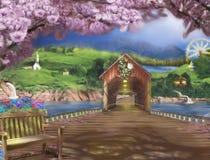 Het nostalgische plaatsen van een platteland met een lange houten brug stock illustratie