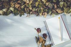 Het notitieboekje en droog nam bloem op wit houten dek met leeg kuuroord toe Stock Afbeeldingen