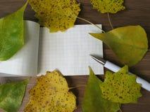 Het notitieboekje met de herfst verlaat kader stock afbeelding
