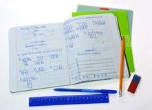 Het notitieboekje van de schoolwiskunde Stock Afbeelding