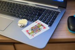 Het notitieboekje van speelkaartenspaanders Stock Foto's