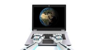Het Notitieboekjeaarde van robothanden stock illustratie