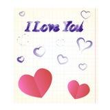 Het notitieboekjeblad met liefdebekentenis Royalty-vrije Stock Fotografie