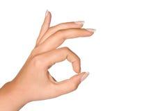 Het O.K. teken van de Hand Stock Afbeelding