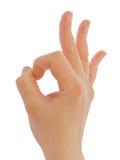 Het O.K. teken van de hand Stock Foto