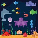Het oceaan onderwaterleven, overzeese dieren Stock Foto's