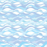 Het oceaanpatroon van het golfwater Naadloze blauwe golvende achtergrond Stock Foto