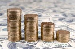 Het Oekraïense geld ligt op de vele V.S. honderd dollarsrekeningen stock afbeeldingen