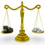 Het olievat en de dollars zingen op gouden schalen. Stock Foto's