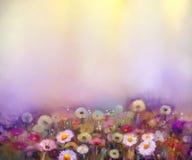 Het olieverfschilderij bloeit paardebloem, papaver, madeliefje, korenbloem op gebied royalty-vrije illustratie