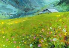 Het Olieverfschilderij van het landschap royalty-vrije stock afbeelding