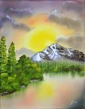 Het Olieverfschilderij van het landschap stock afbeelding