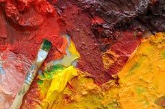 Het olieverfschilderijpalet van kunstenaars Stock Fotografie