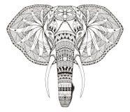 Het olifantshoofd zentangle stileerde, vector, illustratie, uit de vrije hand Royalty-vrije Stock Foto's