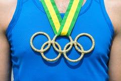 Het olympische Lint van Brazilië van de Ringen Gouden Medaille Stock Afbeeldingen