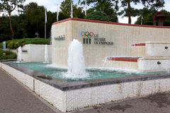 Het olympische Museum in stad van Lausanne Zwitserland Stock Foto