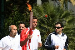 Het olympische Relais van de Toorts in Athene