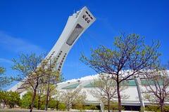 Het Olympische Stadion en de toren van Montreal Stock Afbeeldingen