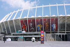 Het Olympische stadion van Kiev op het tijdstip van EURO 2012 Royalty-vrije Stock Fotografie