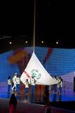 Het olympische vlag toenemen Stock Foto
